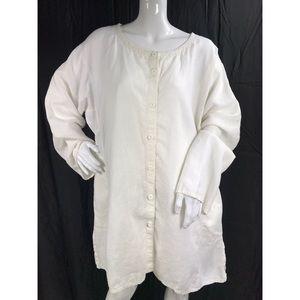 Eileen Fisher XL Linen Jacket Top White Boxy